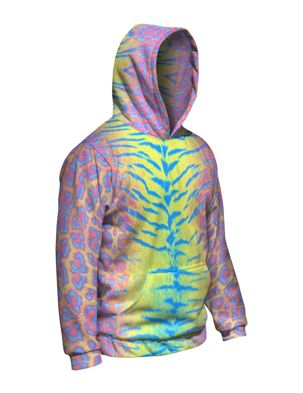 Yizzam- Tiger Leopard Skin rosa rosa Skin giallo blu - Nuovo Uomo Hoodie Sweater XS S M L bb2f0c